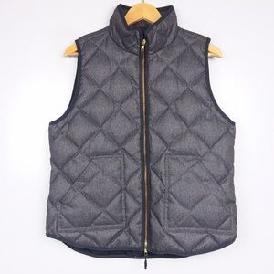 J. Crew Factory Gray Textured Quilted Puffer Vest
